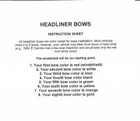 Headliner Bow Instruction Sheet